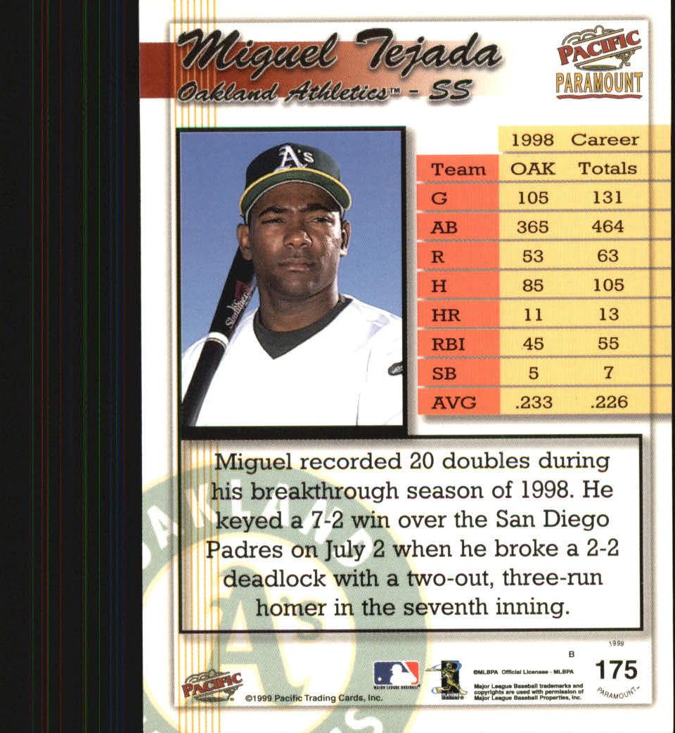 1999 Paramount #175 Miguel Tejada back image