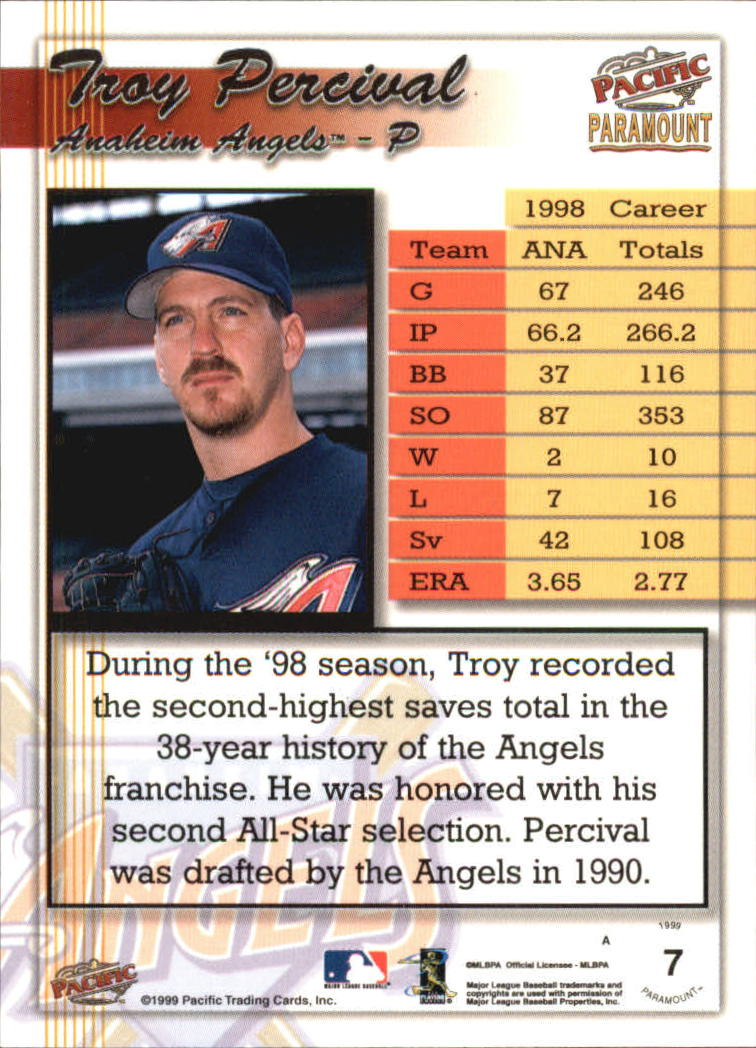 1999 Paramount Copper #7 Troy Percival back image