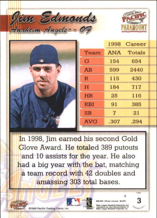 1999 Paramount Gold #3 Jim Edmonds back image