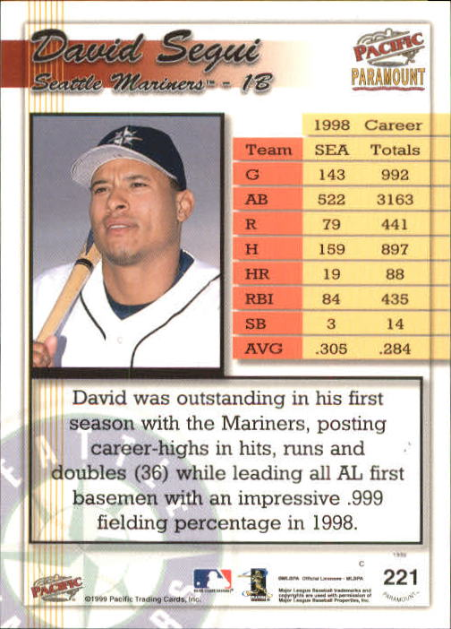 1999 Paramount Opening Day #221 David Segui back image