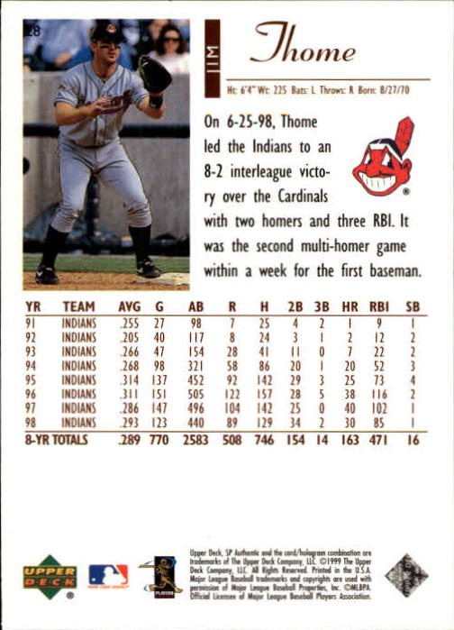 1999 SP Authentic #28 Jim Thome back image