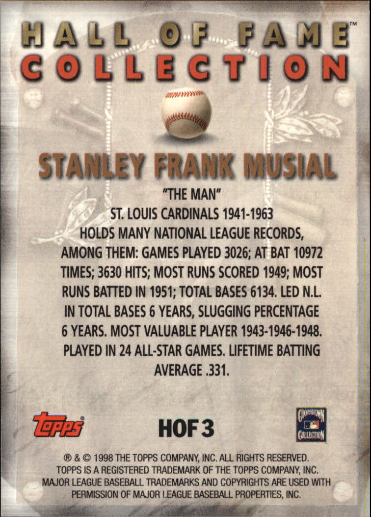 1999 Topps Hall of Fame Collection #HOF3 Stan Musial back image