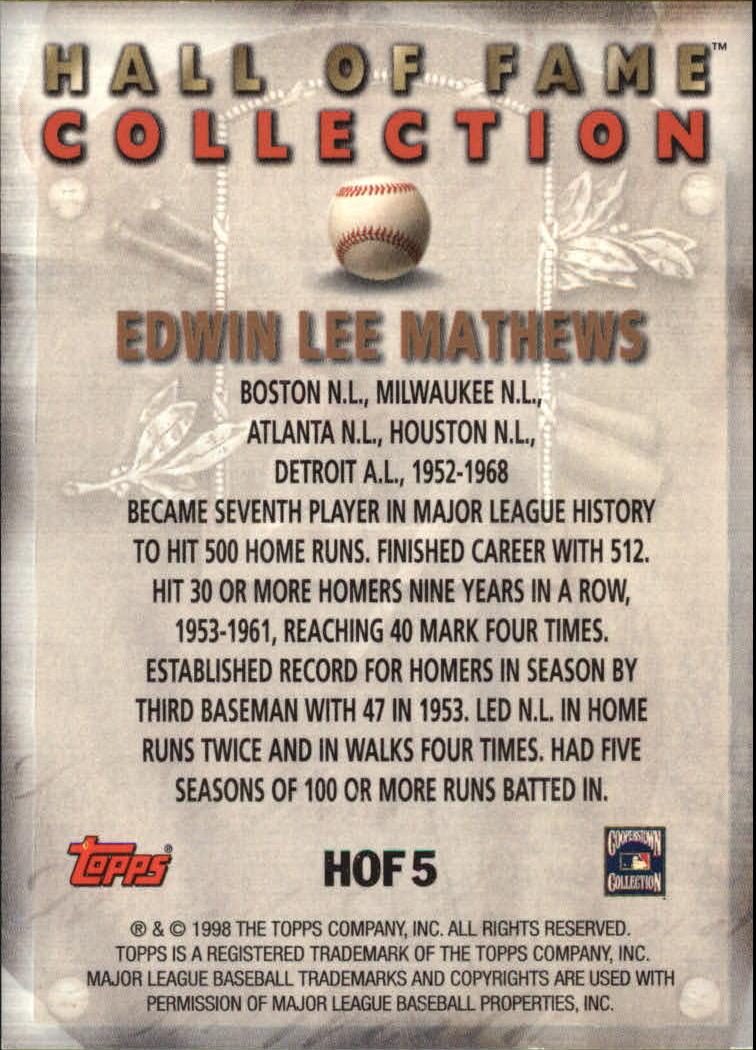 1999 Topps Hall of Fame Collection #HOF5 Eddie Mathews back image