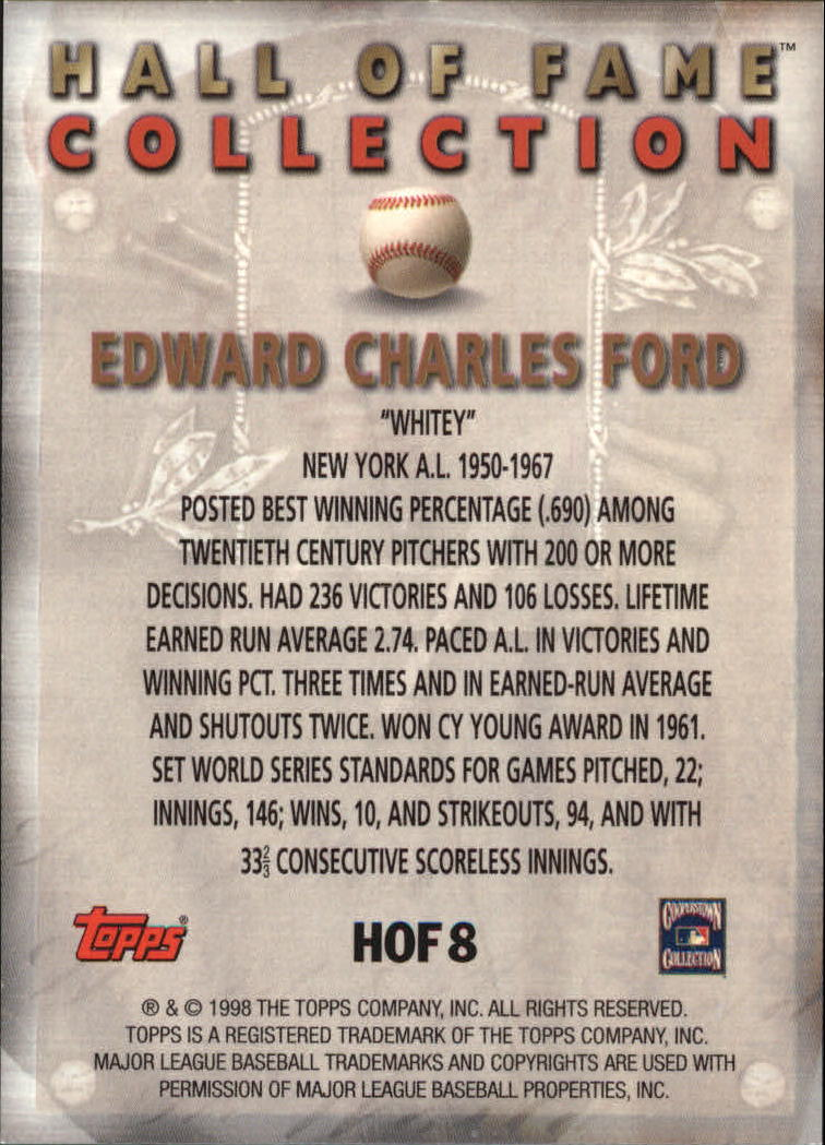 1999 Topps Hall of Fame Collection #HOF8 Whitey Ford back image