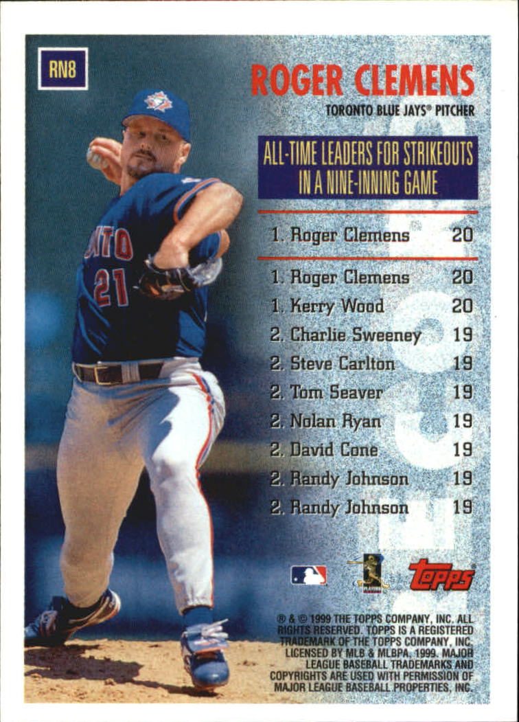 1999 Topps Record Numbers #RN8 Roger Clemens back image