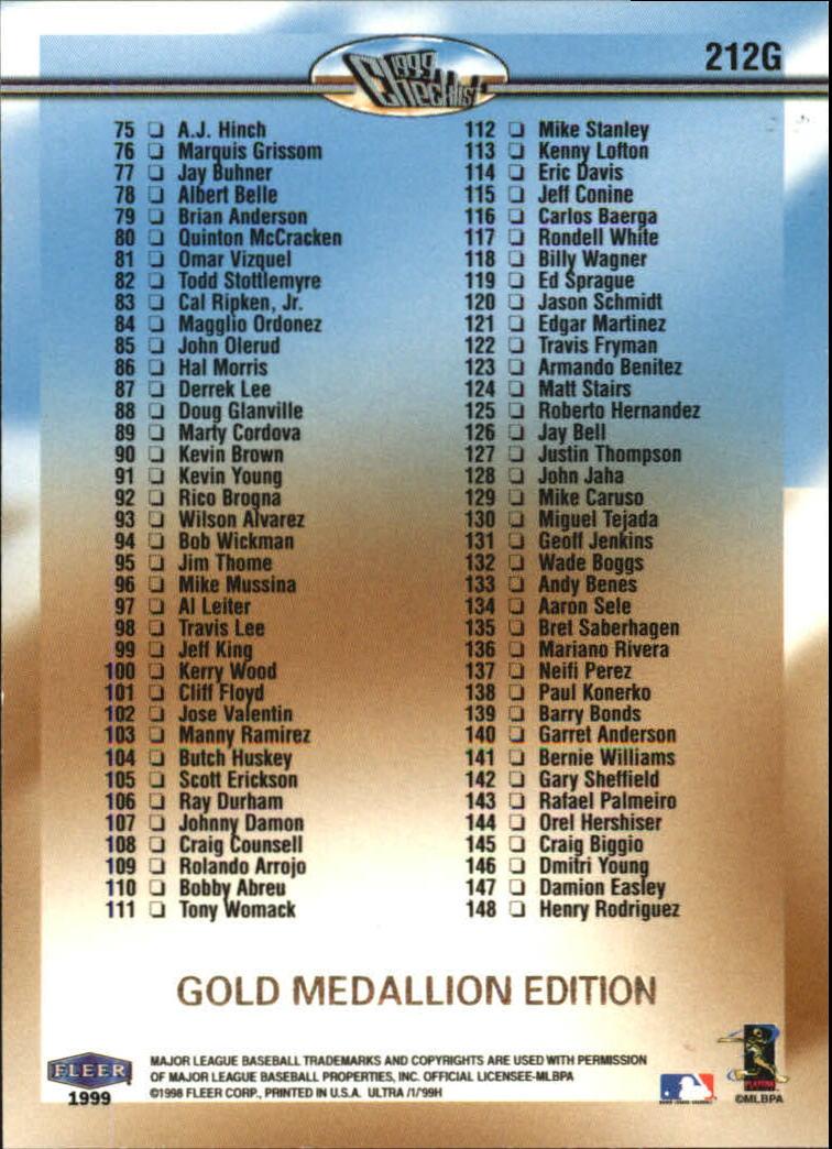 1999 Ultra Gold Medallion #212 Alex Rodriguez CL back image