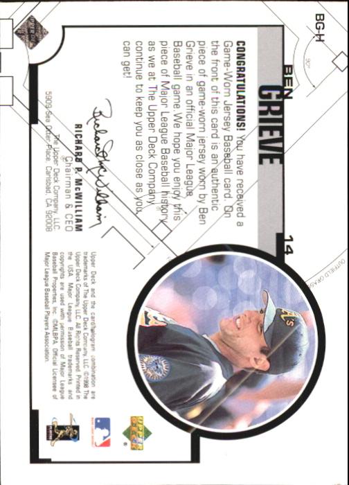 1999 Upper Deck Game Jersey #BG Ben Grieve H1 back image