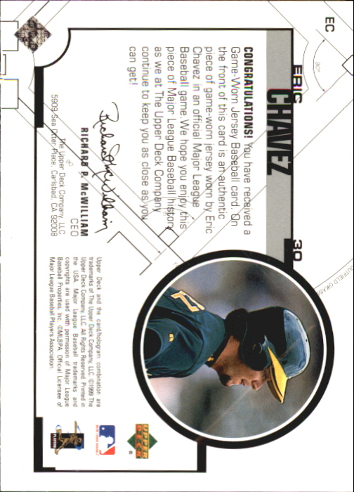 1999 Upper Deck Game Jersey #EC Eric Chavez H2 back image