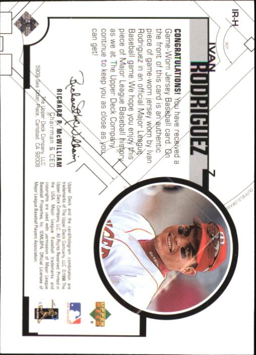 1999 Upper Deck Game Jersey #IR Ivan Rodriguez H1 back image