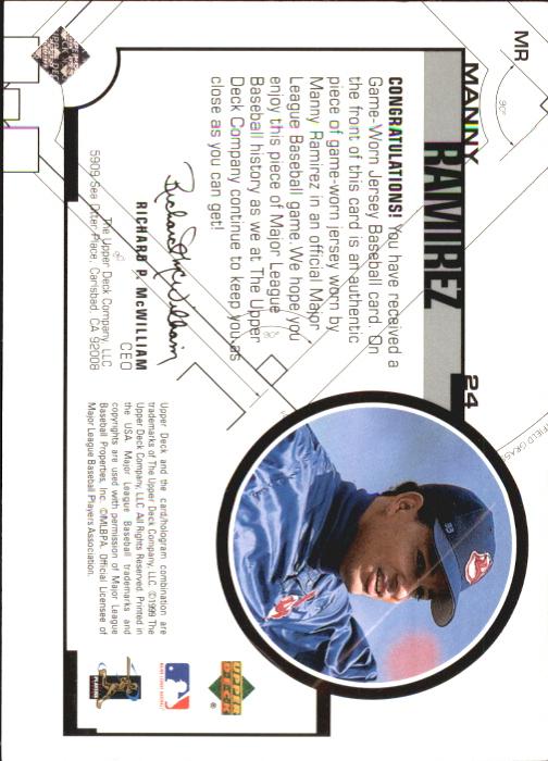 1999 Upper Deck Game Jersey #MR Manny Ramirez H2 back image