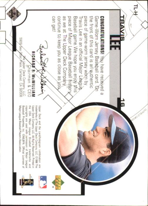 1999 Upper Deck Game Jersey #TL Travis Lee H1 back image