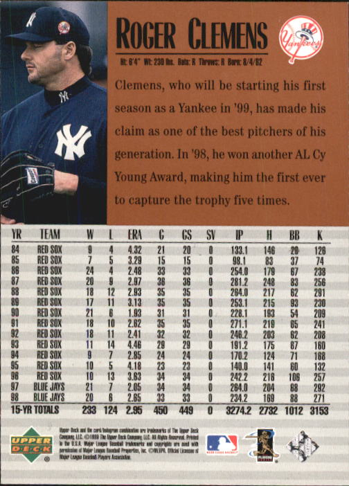 1999 Upper Deck Century Legends #53 Roger Clemens back image