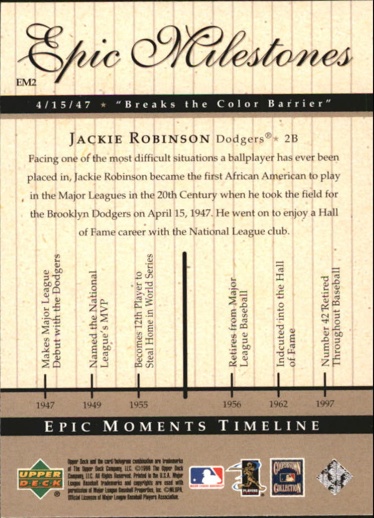 1999 Upper Deck Century Legends Epic Milestones #EM2 Jackie Robinson back image