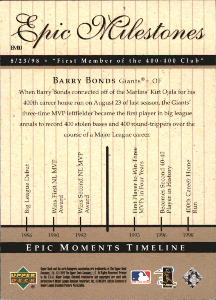 1999 Upper Deck Century Legends Epic Milestones #EM10 Barry Bonds back image