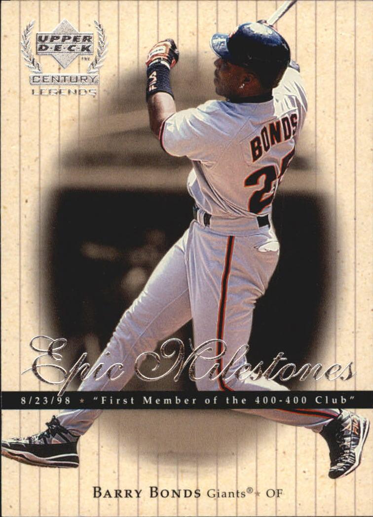 1999 Upper Deck Century Legends Epic Milestones #EM10 Barry Bonds