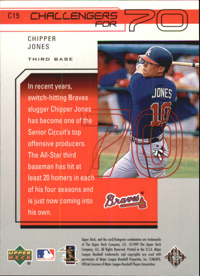 1999 Upper Deck Challengers for 70 Challengers Inserts #C15 Chipper Jones back image