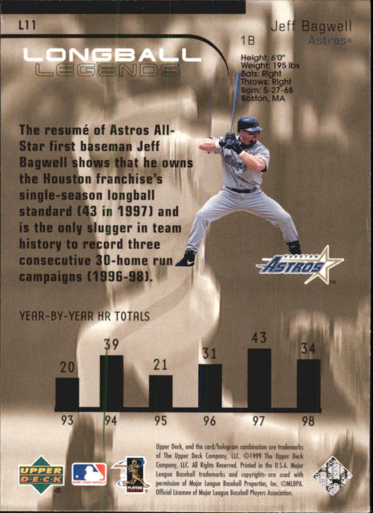 1999 Upper Deck Challengers for 70 Longball Legends #L11 Jeff Bagwell back image