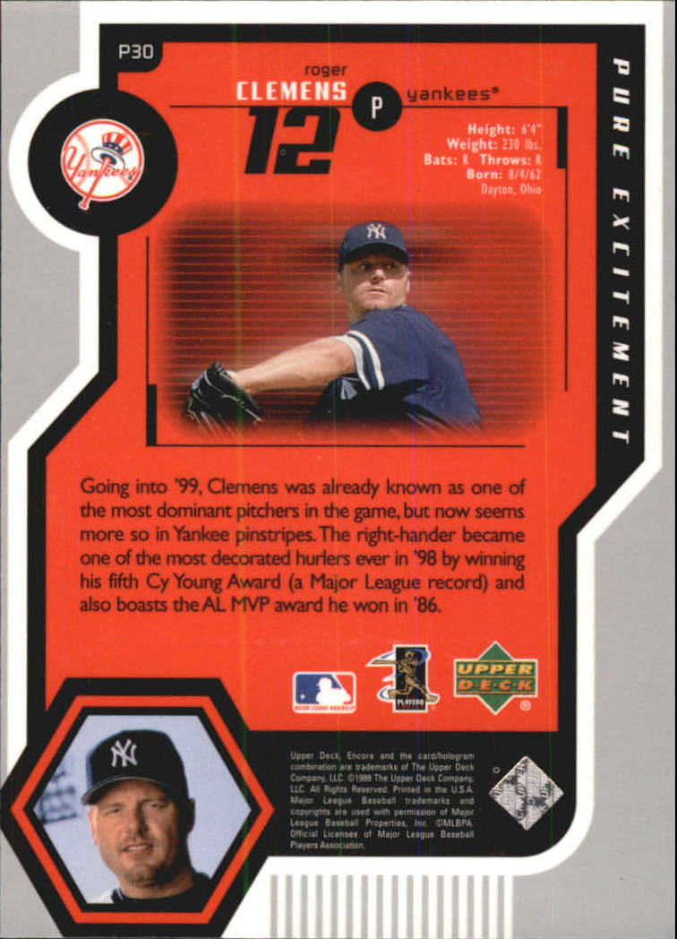 1999 Upper Deck Encore Pure Excitement #P30 Roger Clemens back image