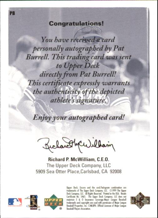 1999 Upper Deck Encore UD Authentics #PB Pat Burrell back image