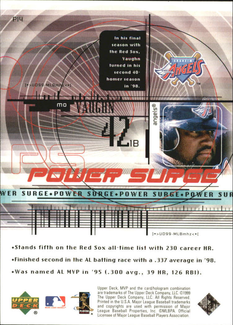 1999 Upper Deck MVP Power Surge #P14 Mo Vaughn back image