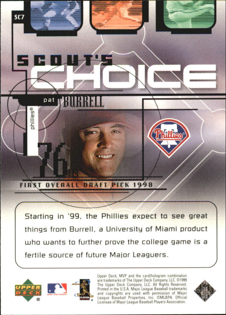 1999 Upper Deck MVP Scout's Choice #SC7 Pat Burrell back image