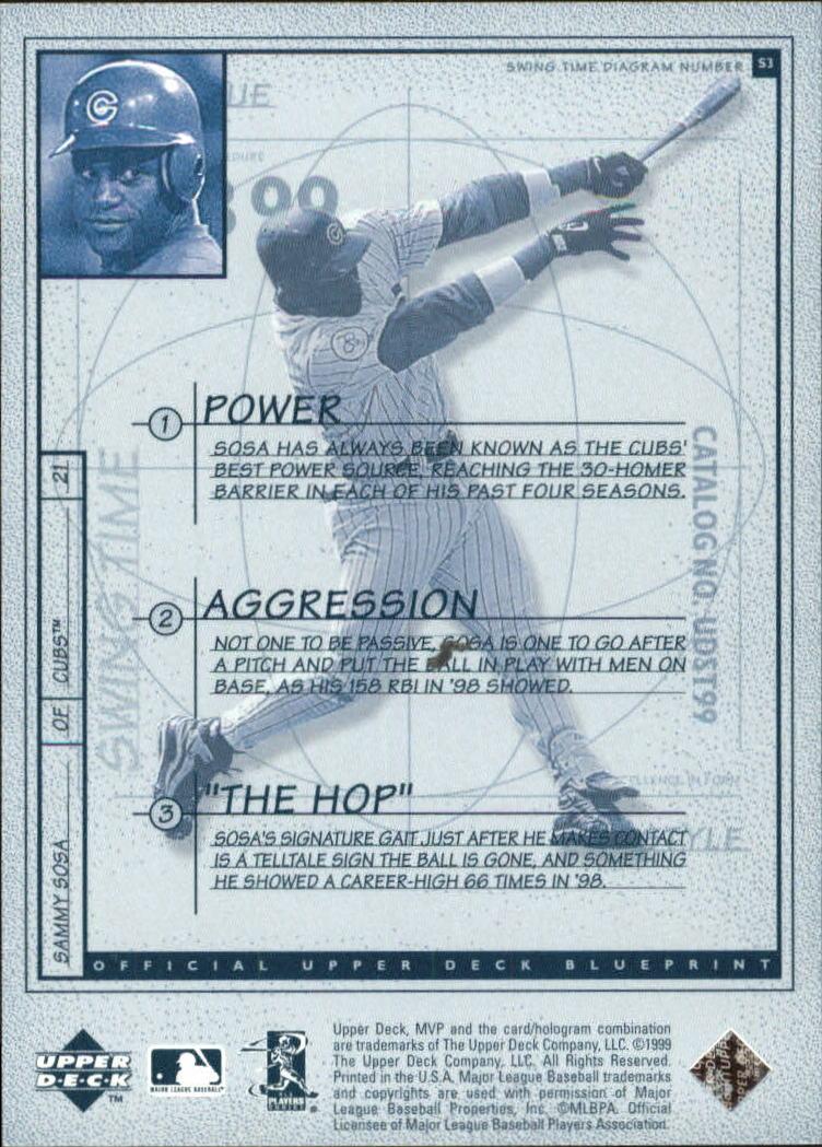 1999 Upper Deck MVP Swing Time #S3 Sammy Sosa back image