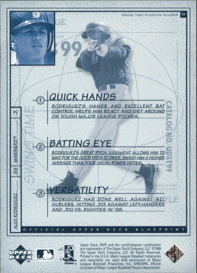 1999 Upper Deck MVP Swing Time #S5 Alex Rodriguez back image