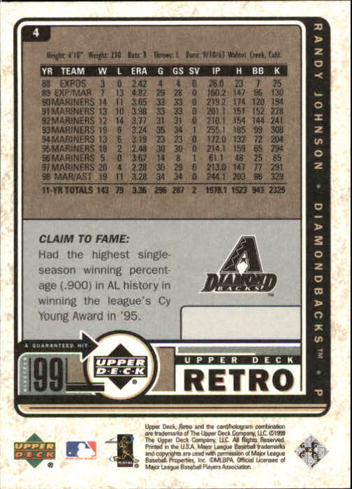 1999 Upper Deck Retro #4 Randy Johnson back image