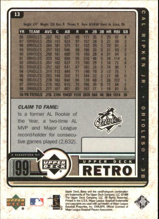 1999 Upper Deck Retro #13 Cal Ripken back image