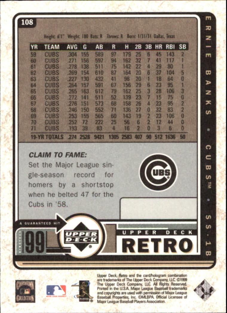 1999 Upper Deck Retro #108 Ernie Banks back image