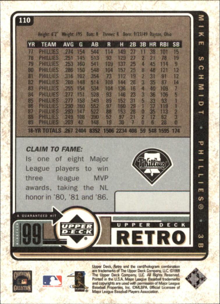 1999 Upper Deck Retro #110 Mike Schmidt back image