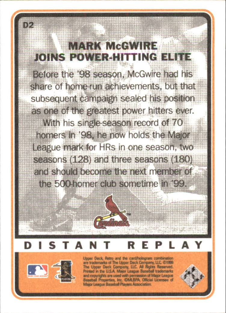 1999 Upper Deck Retro Distant Replay #D2 Mark McGwire back image