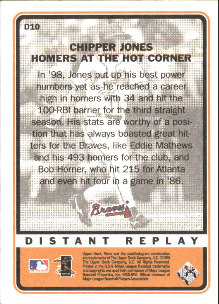 1999 Upper Deck Retro Distant Replay #D10 Chipper Jones back image