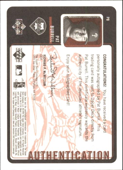1999 Upper Deck Retro Inkredible #PB Pat Burrell back image
