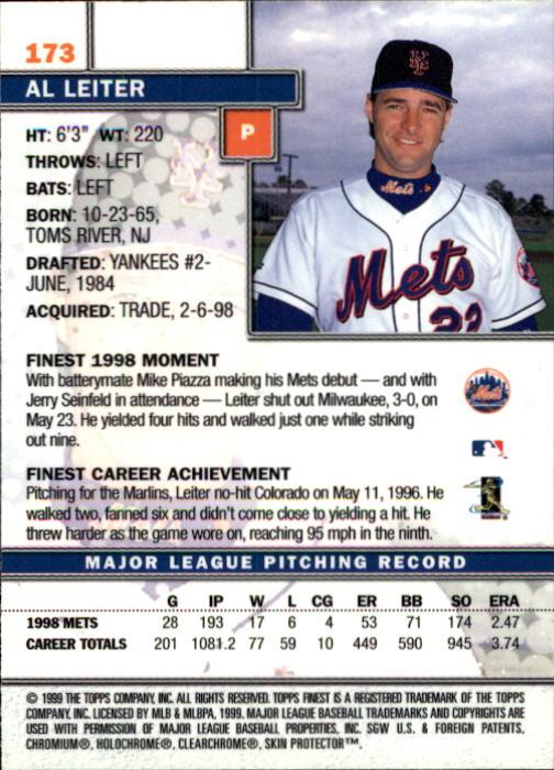 1999 Finest #173 Al Leiter back image