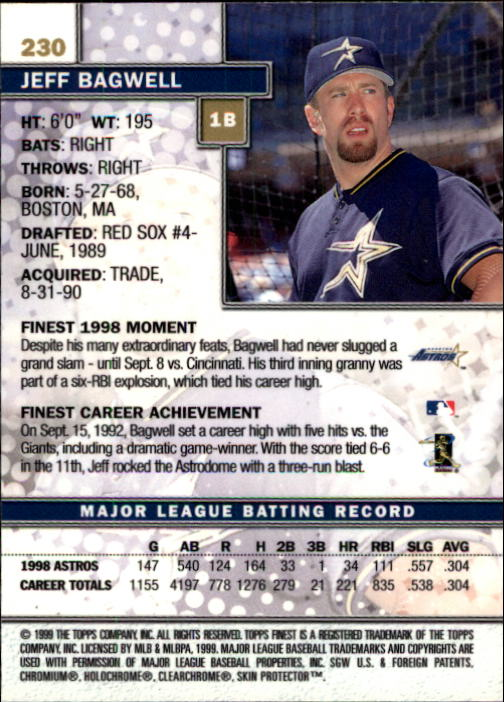 1999 Finest #230 Jeff Bagwell back image