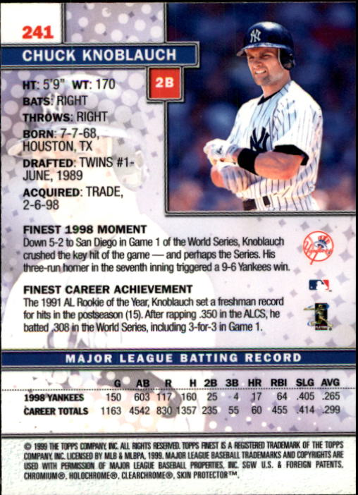 1999 Finest #241 Chuck Knoblauch back image