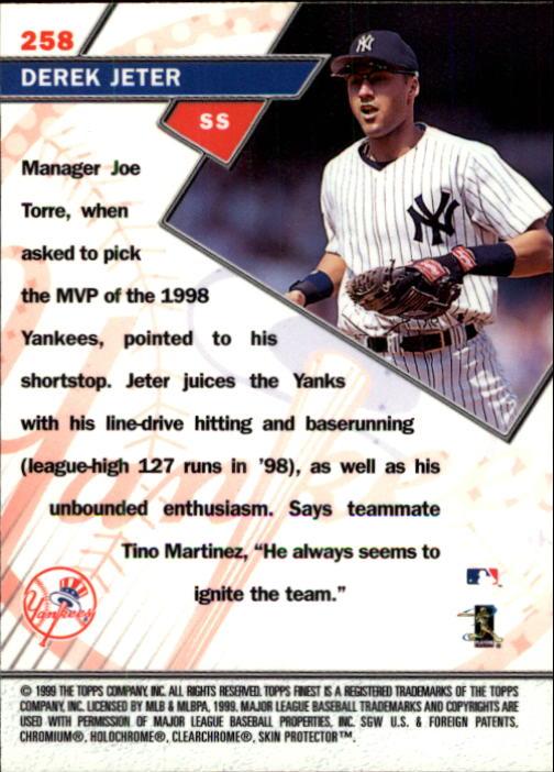 1999 Finest #258 Derek Jeter ST back image