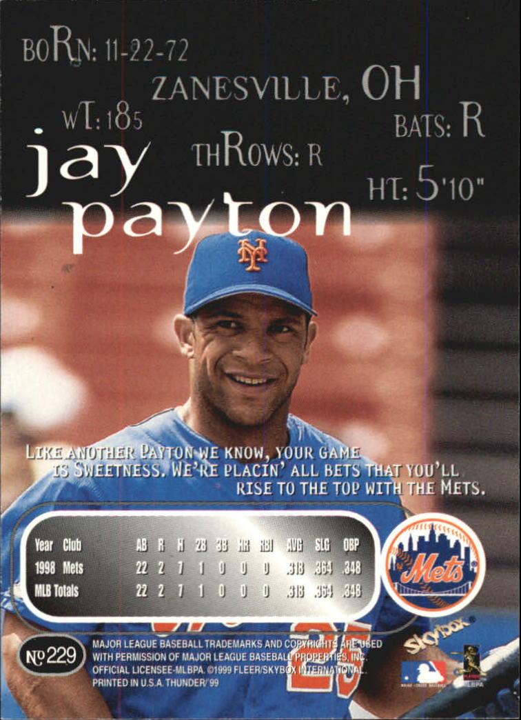 1999 SkyBox Thunder #229 Jay Payton back image