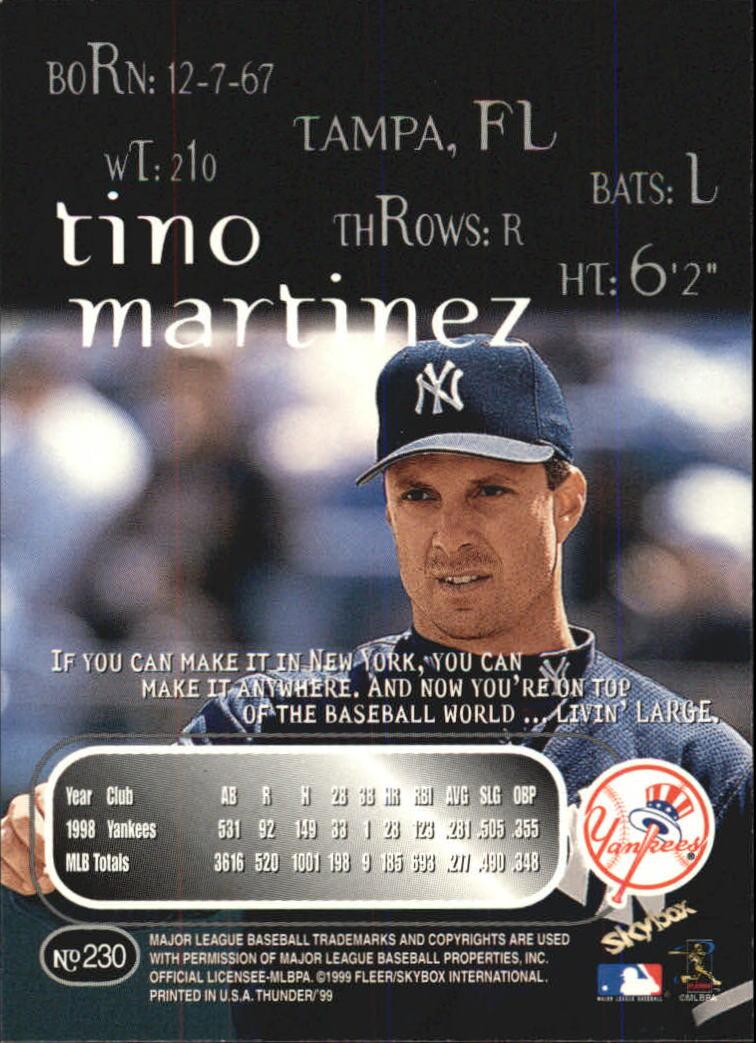 1999 SkyBox Thunder #230 Tino Martinez back image