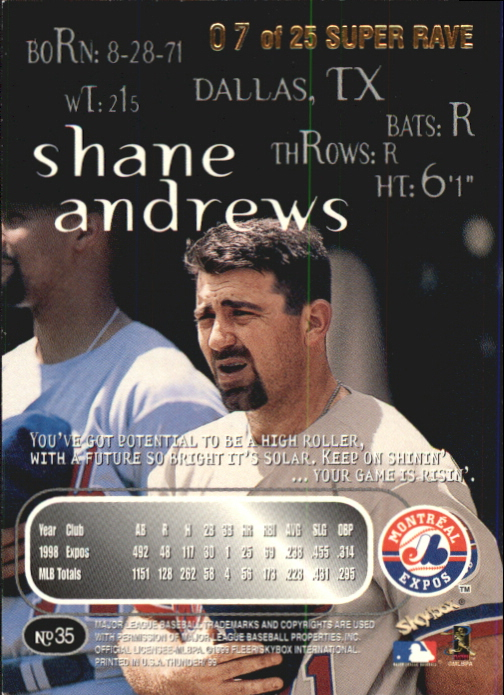 1999 SkyBox Thunder Super Rave #35 Shane Andrews back image
