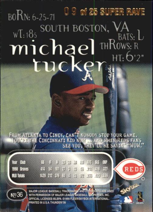 1999 SkyBox Thunder Super Rave #36 Michael Tucker back image