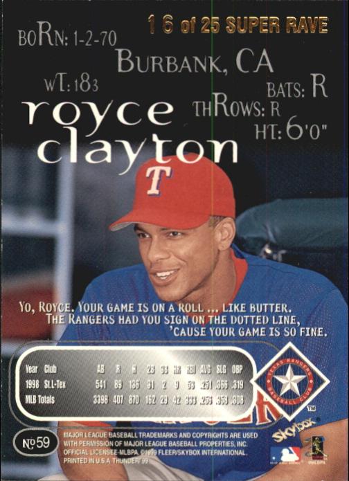 1999 SkyBox Thunder Super Rave #59 Royce Clayton back image