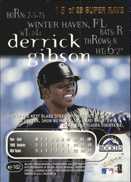 1999 SkyBox Thunder Super Rave #162 Derrick Gibson back image