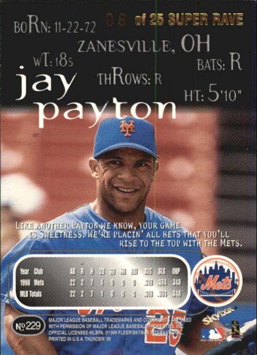 1999 SkyBox Thunder Super Rave #229 Jay Payton back image