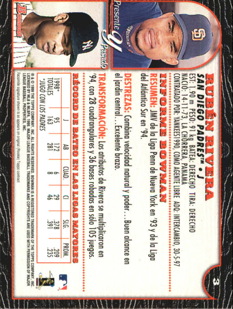 1999 Bowman International #3 Ruben Rivera back image