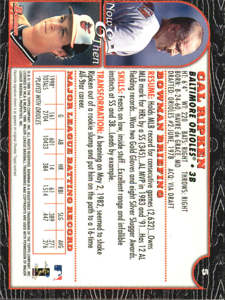 1999 Bowman International #5 Cal Ripken back image
