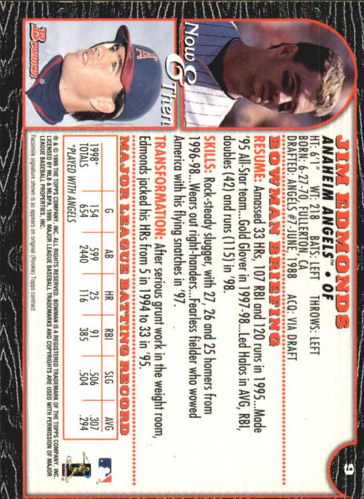 1999 Bowman International #9 Jim Edmonds back image