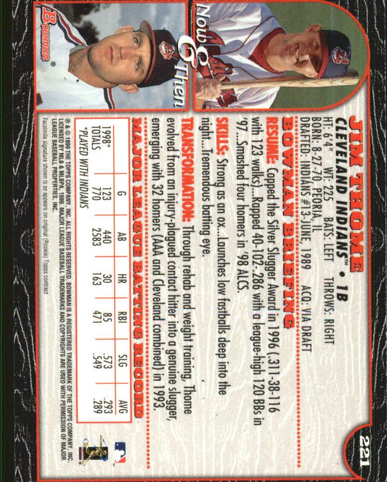 1999 Bowman International #221 Jim Thome back image