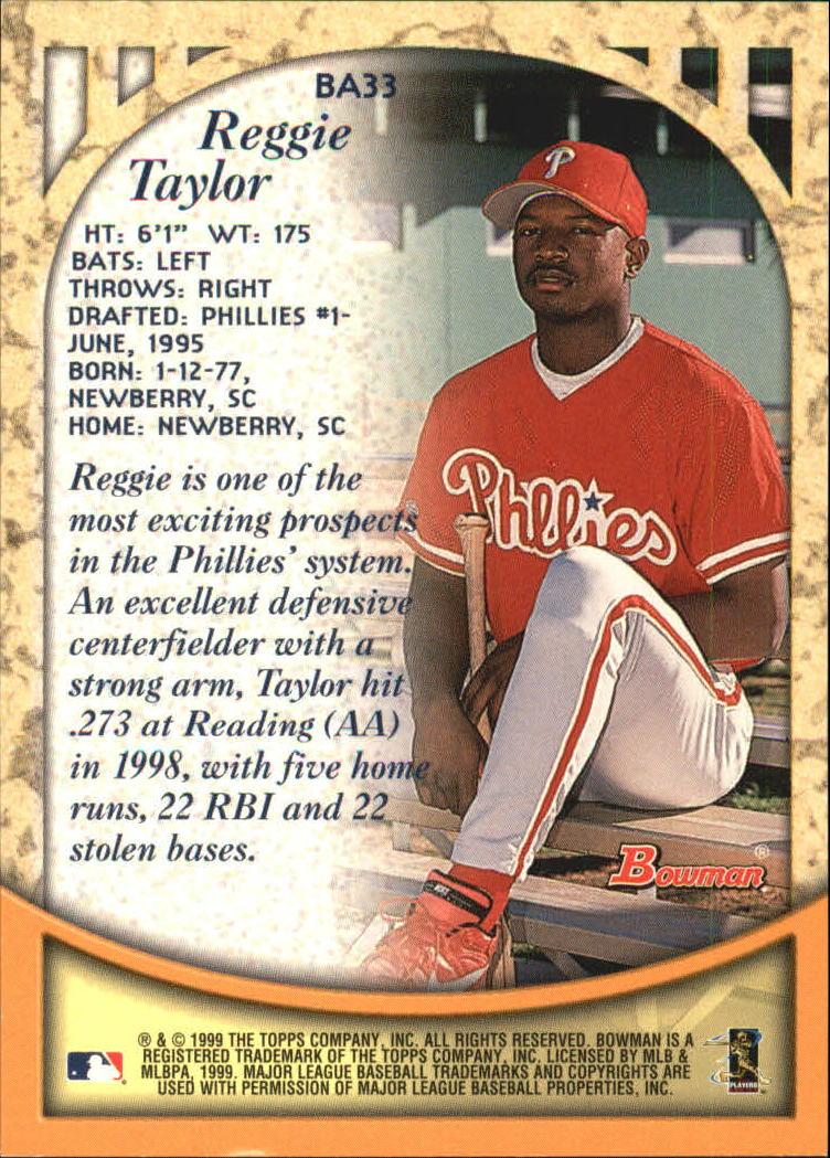 1999 Bowman Autographs #BA33 Reggie Taylor B back image